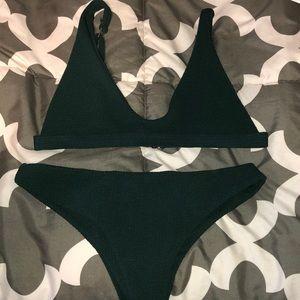 NWOT zaful forest green bikini